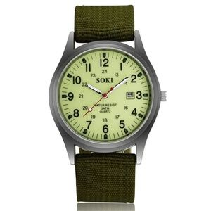 Military Army Men's Canvas Calendar watch